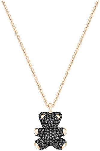 Cute teddy bear pendant necklace earrings woman Black rope necklace Jewelry set
