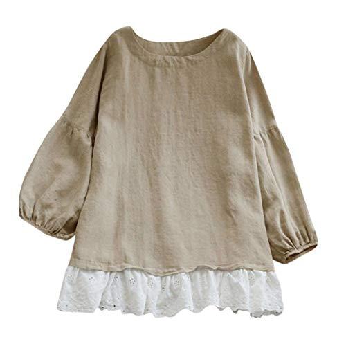 Manche Tee SANFAHSION Casual Dentelle Lin Shirt Blouse Haut Tops Kaki Patchwork Long Femme Longue Ourlet Haavxf