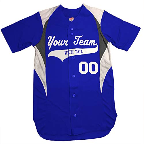 3 Color Customized Baseball Jersey Adult Large in Royal Blue and White (Best Softball Jersey Names)