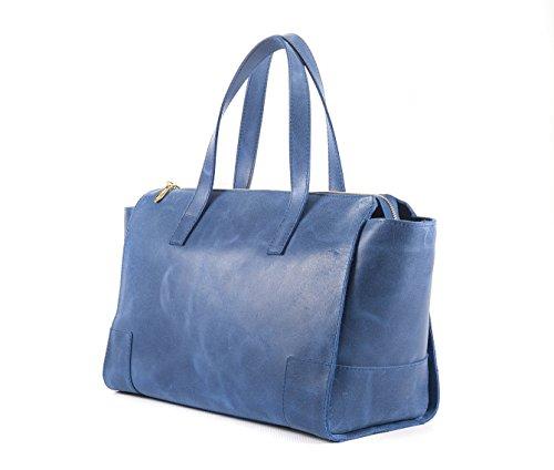 Amelia shopping bag blu - borsa da donna modello shopping bag in vera pelle effetto vintage - Passionebags - made in Italy Ofertas Baratas Compras La Venta En Línea De Salida Comprar El Estilo De La Moda Barata 3D3W3
