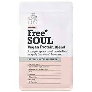 Free Soul Vegan Protein Powder | Formulated for Women | 600g | 20g Protein | Added Nutrients | Gluten & Soy Free Plant Based Nutrition Protein Shake | Pea and Hemp Isolate Protein (Chocolate)