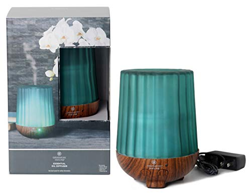 Chesapeake Bay Candle Aromatherapy Essential Oil Diffuser with Waterless Auto Shut-Off Soft White Light, Green Frosted Ribbed Glass Cover, 250ml,