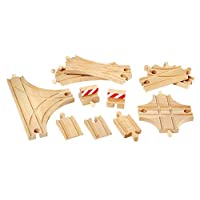 BRIO World - 33307 Advanced Expansion Pack   11 Piece Set of Wooden Train Tracks for Kids Ages 3 and Up