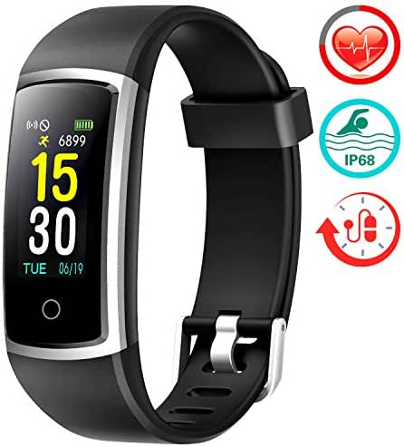 FITFORT Fitness Tracker with Blood Pressure HR Monitor - 2019 Upgraded Activity Tracker Watch with Heart Rate Color Monitor IP68 Pedometer Calorie Counter and 14 Sports Tracking for Women Kids Men