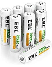 EBL AA Rechargeable Batteries 2800mAh High Capacity Precharged Ni-MH AA Rechargeable Batteries 8 Packs
