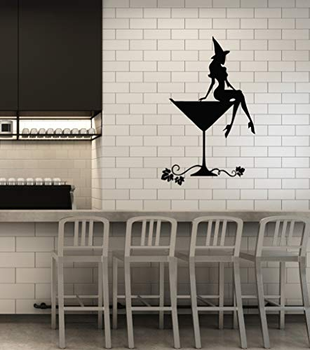 (Vinyl Wall Decal Halloween Cocktail Girl Party Witch Glass Interior Idea Stickers Mural Large Decor)