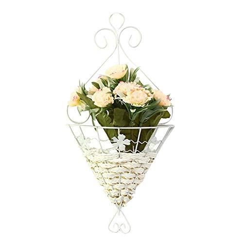 SeedWorld Flower Pots & Planters - European Rural Wedding Decoration Flower Basket Home Metal Iron Wall Artificial Flower Vase Bamboo Silk Dry Flower Plant Pot 1 PCs
