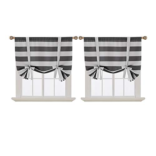 - Deconovo Gray Striped Blackout Window Curtains Thermal Insulated Grey and Greyish White Striped Curtains Tie Up Curtains for Bedroom 46W X 63L Gray 2 Panels