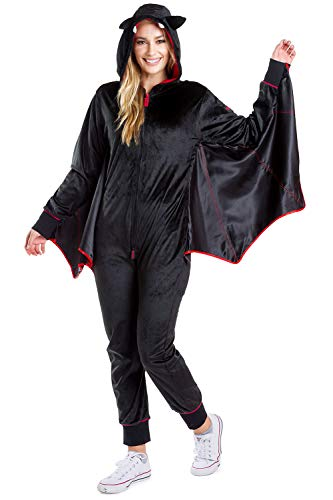 Easy To Make Couple Halloween Costume Ideas (Tipsy Elves Women's Bat Halloween Costume - Cute Black Bat Jumpsuit:)