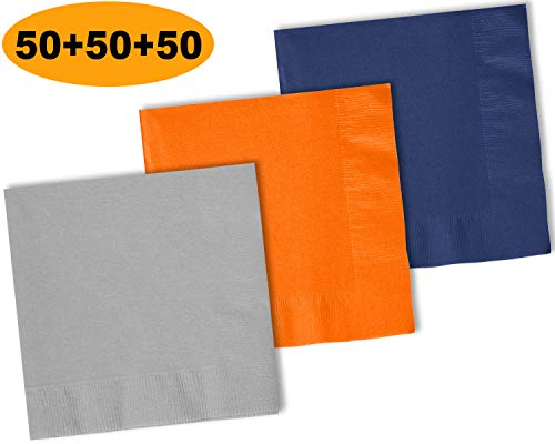 (150 Beverage Napkins, Shimmering Silver, Pumpkin Orange, Navy blue - 50 Each Color. 2 Ply Paper Cocktail Napkins. 5
