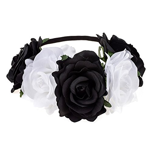 DreamLily Women's Hawaiian Stretch Rose Flower Headband Floral Crown for Garland Party BC12 (Black White) -