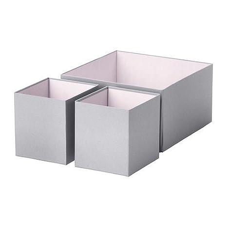 IKEA conjunto de 3 caja de cartón HYFS para guardar en armarios o de cómoda - gris: Amazon.es: Hogar