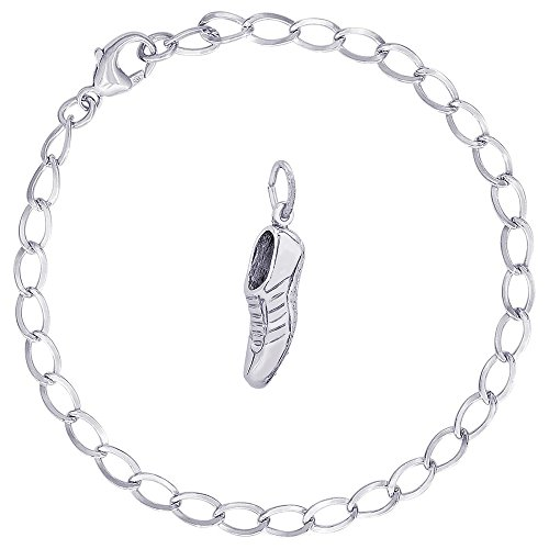 Rembrandt Charms Sterling Silver Track Shoe Charm on a Curb Link Bracelet, 8