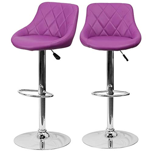 (Modern Style Bar Stools Low Back Horizontal Stitched Design Durable Vinyl Upholstery 360-Degree Swivel Seats Drafting Dining Chair Bar Pub Home Office Furniture - [Set of 5] Purple #2242)