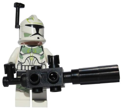 Green Clone - Clone Commander Green Leader (With Chaingun) - LEGO Star Wars Clone Wars Minifigure with Helmet Rangefinder and Rotary Chaingun Blaster