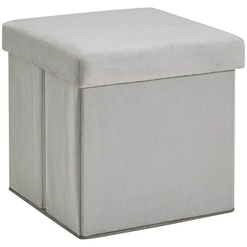 Tuft Ottoman Square Low Collapsible Footrest Stool Small Padded Storage Cube Light Grey Folding Upholstered End Side Table for Dorm Living Room Bedroom Kids Room and e-Book by jn.widetrade