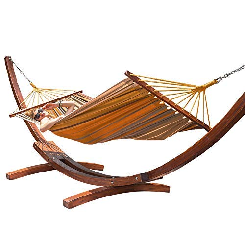 Lazy Daze Hammocks 12Feet Wood Arc Hammock Stand and Cotton Fabric Spreader Bar Hammock Combo, Mother Earth Striped