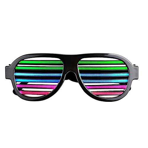 Efanr LED Glasses, Sound & Voice Activated Light up Luminous Flashing Shutter Shades Eyeglasses with USB Charger for Kids and Adults in Disco, Party, Rave, Concerts, Halloween, Christmas Gifts