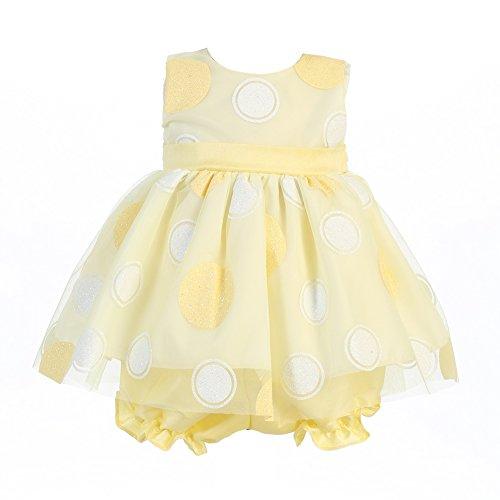 Lito Baby Girls Yellow Glittered Polka Dot Easter Dress Bloomer Set 0-3M