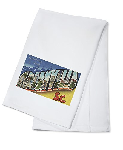 (Greenville, South Carolina - Large Letter Scenes (100% Cotton Kitchen Towel))