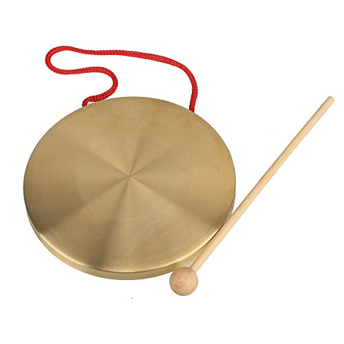 Yibuy 15.5cm Brass Instruments Copper Cymbals Opera Gong with Round Play Hammer