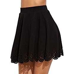 SheIn Women's Basic Solid Cutout Scallop Hem Flared Mini Skater Skirt Large Black