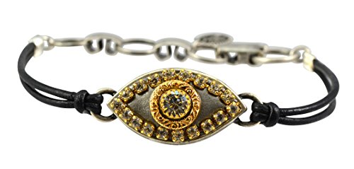 Arab Costume Jewellery (Michal Golan Silver and Gold Plated Evil Eye Bracelet with Clear Crystal With Black Leather)