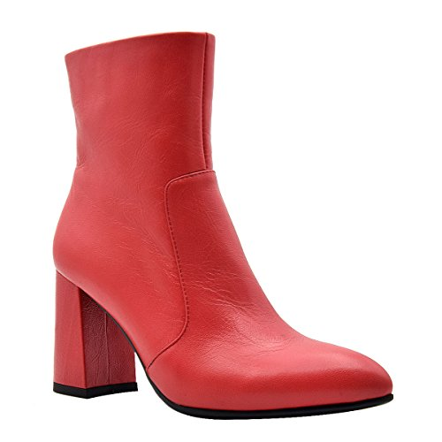 Block Almond Genuine inches Red Toe Women's Suede Elegant Ankle Leather Comfort Heel Boots Style 5 High Verocara SqxEBPwI
