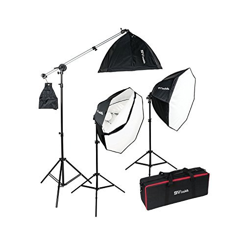 Smith Victor OctaBella 1500W 3-Light LED Softbox Kit with Boom Arm Smith Victor Soft Light