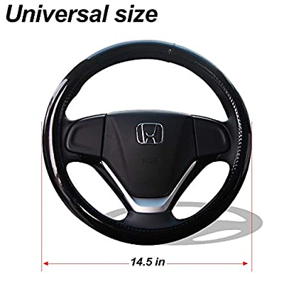 Madmax Steering Wheel Cover, Universal 14.5 Inches PU Leather Wheel Cover, Glossy Finish, Soft Padding, Durable, Odorless, Synthetic Leather, Comfort Grip Handle … (Black): Automotive