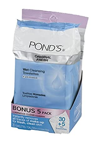 Amazon.com: Ponds Wet Cleansing Towelettes with Vitamin E Original Fresh - 35 ct: Beauty