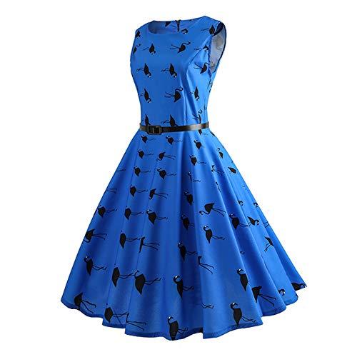 Isbxn de Las la Cintura Estilo Grande de Mujeres la Impreso Cintura de Vestido oscilación Blue Retro de rwTrqxF84