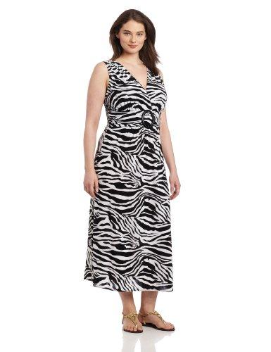(Star Vixen Women's Plus-Size Sleeveless O-Ring Maxi, Zebra Print, 2X)