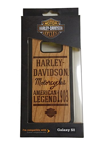 Harley Davidson Woodgrain and Black Protective Faceplate with Wood Burning Look Cover for Samsung Galaxy S8
