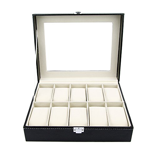Watch Box Large 10 Black Mens Womens Leather Display Glass Top Jewelry Case Organizer by