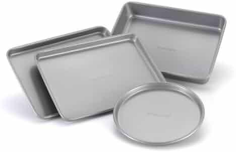 Farberware Nonstick Bakeware 4-Piece Toaster Oven Set, Gray