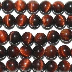 (GR1876 Red Tiger's Eye 6mm Round Quartz Gemstone Beads 7