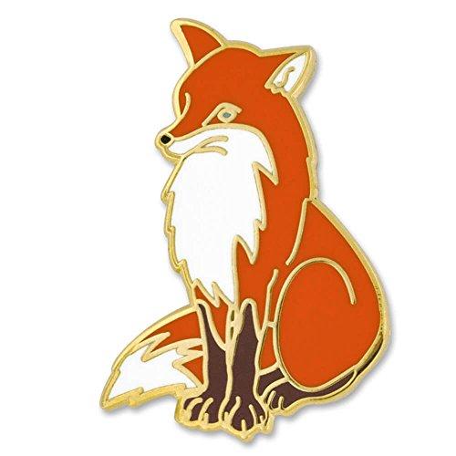 Fox Gold Brooch - PinMart Vixen Arctic Red Fox Animal Enamel Lapel Pin