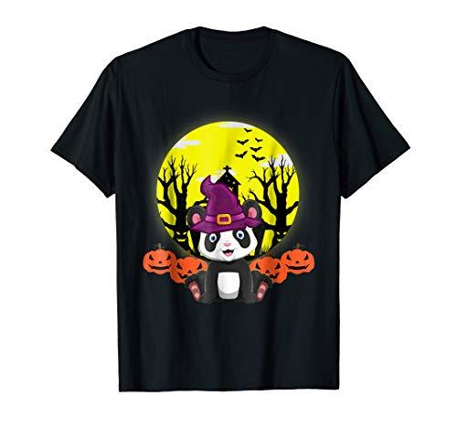 Funny Panda Witch Hat Halloween Shirt Girls Kids Womens