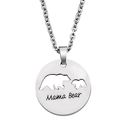1 Pendant Mama (KUIYAI Sweet Mama and Baby Bear Round Pendant Necklace for Mother (1 cub R))