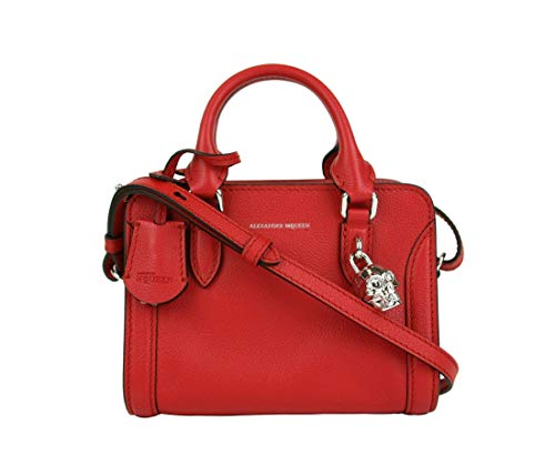 Alexander McQueen Women's Red Leather Small Silver Skull Satchel Bag 419781 6226