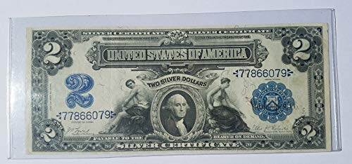 Large Silver Certificate - 1899 Washington Blue Seal Large Note Silver Certificate $2 UN