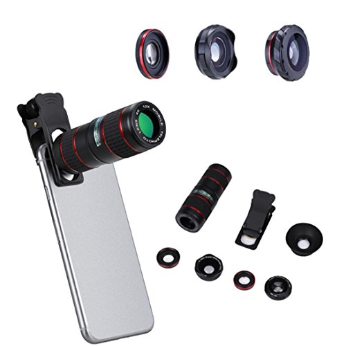 Price comparison product image 12X Mobile Zoom Telephoto Lens For Single Dual Lens Of Tablet PC And Mobile Phone, with Wide Angle Lens Micro Lens Fish Eye lens