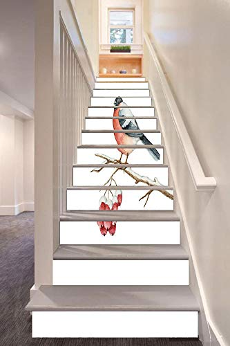 Rowan 3D Stair Riser Stickers Removable Wall Murals Stickers,Cute Wild Bird in Watercolors Sitting on Tree Branch Xmas Themed Artwork Decorative,for Home Decor 39.3