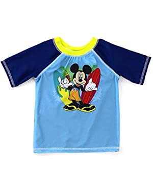 Disney Mickey Mouse Surfer Toddler Boy's Rash Guard Swim Shirt
