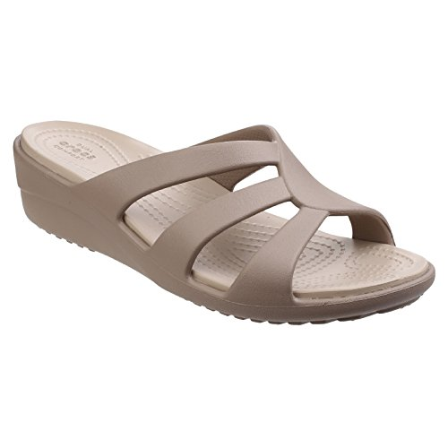 Crocs Womens Sanrah Strappy Wedge Sandal Mushroom