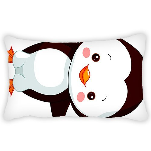 ElijahToby Polyester Pillow Cover Cartoon Adorable Penguin Bolster Throw Pillow Case Cushion Cover for Kids Bedroom Couch Sofa Home Decorative 12x24 Inches
