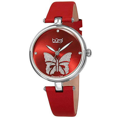 - Burgi Designer Women's Watch - Pretty Butterfly Glitter Dial, Satin Over Genuine Leather Red Strap, 3 Diamond Markers, Polished Bezel - BUR233RD