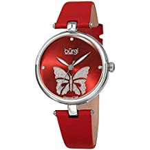 Burgi Designer Women's Watch – Pretty Butterfly Glitter Dial, Satin Over Genuine Leather Red Strap, 3 Diamond Markers, Polished Bezel - BUR233RD