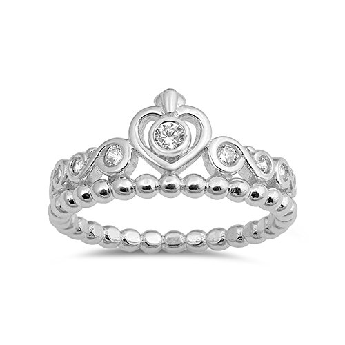 .925 Sterling Silver Beaded Scroll Heart Crown Cubic Zirconia Ring ()